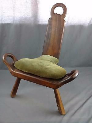 Antique Birthing Labor Aid Stool Chair - Primitive Medical with Original Cushion