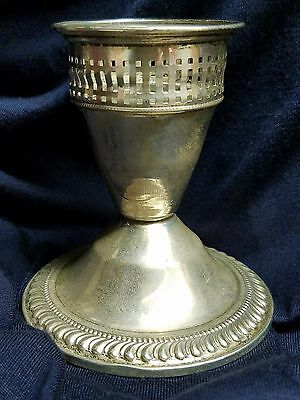 """1 DUCHIN Sterling Silver 3"""" Candle Holder .925 Weighted Cutout Taper Candlestick"""