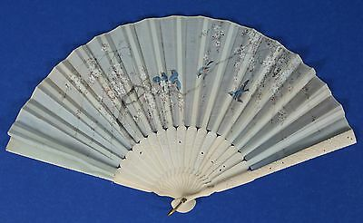 Antique Chinese Fan with Carved & Pierced Boards Birds & Blossoms on Silk