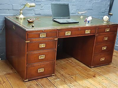 Large Mahogany Military Campaign Pedestal Writing Desk Green Leather Top