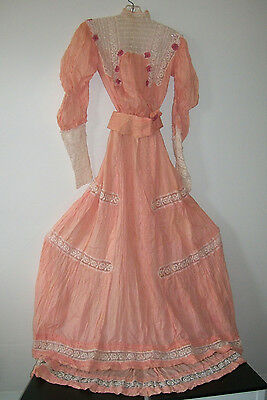 Antique PEACH Silk & Lace VICTORIAN Dress with Train ca. 1890s
