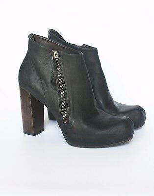 COCLICO LULU ANKLE BOOTS 36.5 6 Black Leather Booties Wooden