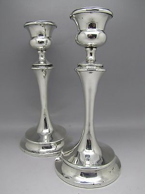 ART DECO SILVER CANDLESTICKS PAIR STERLING S. Blanckensee & Son Ltd 1922 CANDLE