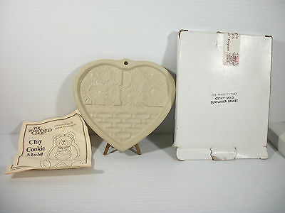 The Pampered Chef Clay Cookie Mold Sunflower Basket Original Box & Instructions