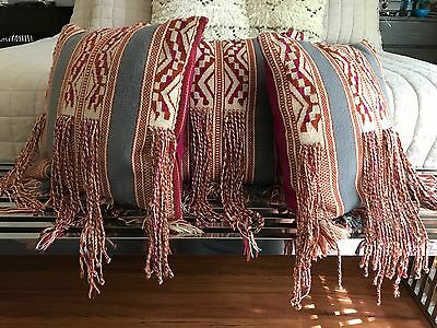 Anthropologie Kilim / Moroccan Fringe Tassel Rug Pillows Set Of 3