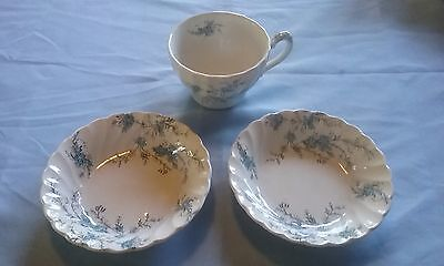 Vintage Myott Fine Staffordshire Ware Forget Me Not Pattern Tea Cup And Bowls