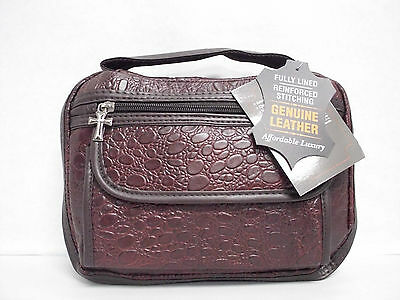 Genuine Leather Alligator Embossed Bible Cover Book Protector Burgundy