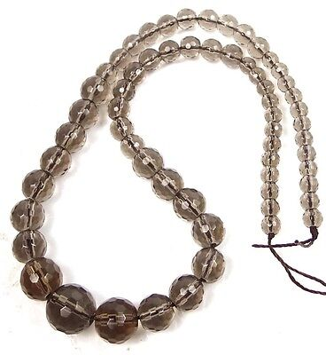 """5-13mm Natural Smoky Quartz Graduated Faceted Round Beads 17"""""""