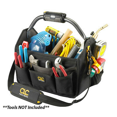 """CLC Work L234 Tech Gear LED Lighted Handle 15"""" Open Top Tool Carrier"""