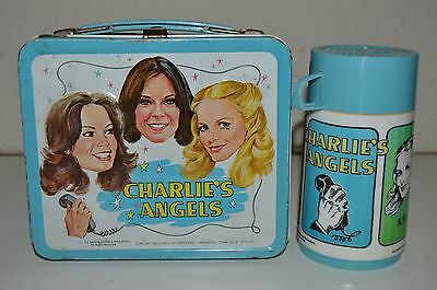 Nice Vintage 1978 Charlie's Angels TV Show Metal Lunchbox & Thermos Set C8 Rare