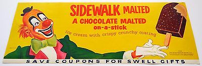 Vintage 1957 Hood Sidewalk Malted Chocolate on-a-stick Clown Sign Poster  #7CC2A