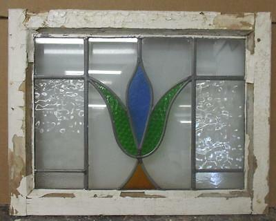 """OLD ENGLISH LEADED STAINED GLASS WINDOW Pretty Floral 21.5"""" x 17"""""""
