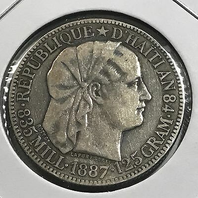 Haiti 1887 Fifty Centimes Silver  Rare Old Coin Better Grade