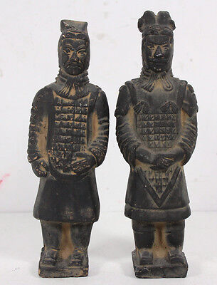 Pair Vintage Chinese 6.5 Inch Standing Terracotta Statues