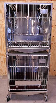 """(2) Stacking Stainless Steel Cat Vet Large Animal Cages 36"""" x 36"""" x 83"""" Kennel"""