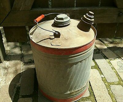 Vintage Galvanized Metal OIL / GAS CAN 5 gallon W/ Caps Spiral Ribbed
