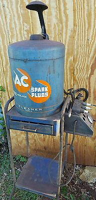 AC Spark plug cleaning station w Acme tester spare boots rare gas station decor