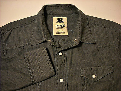 Levi's Large Long Sleeve Snap Button Western Mens Shirt
