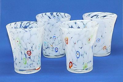 Set Of 4 Amici 10 Oz Drinking Rocks Bar Glasses With Marble Millefiori Design!