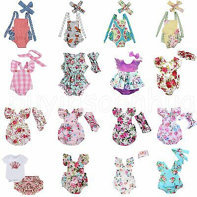 Newborn Baby Girls Floral Romper Jumpsuit Bodysuit Headband Clothes Sunsuit Set