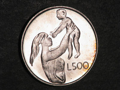 SAN MARINO 1972 500 Lire Mother and Child Silver UNC