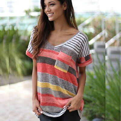 Plus Size Summer Women Blouse Loose Tops V Neck Short Sleeve Casual Tops T-Shirt