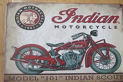 indian motorcycle  101 scout metal sign MAN CAVE brand new or for the  bar