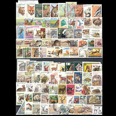Animals Selection Of 100 Different Used Stamps. Combined Shipping