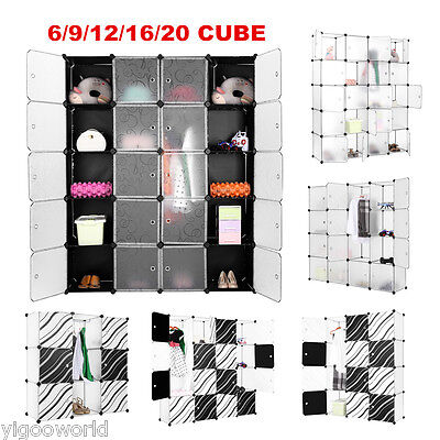 6-20 Cube Modular Storage Clothes Shoes Closet Wardrobe Organizer Shelves System