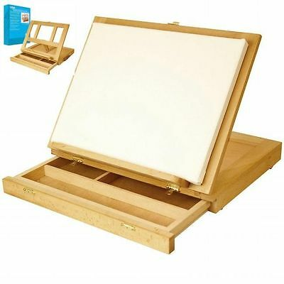 Portable Wood Table Top Painting Easel With Drawer Small Drawing Artist Desk Art
