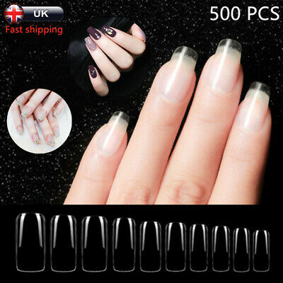 500 False Clear Full Nails Style Acrylic Artificial Nail Art Tips