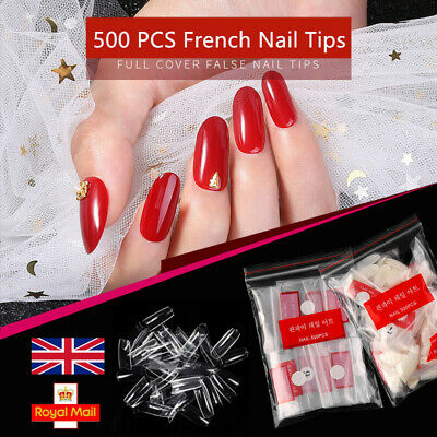 500x Artificial French False Acrylic Nail Art Tips Clear Natural UV Gel UK