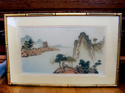 Scenic Framed Vintage Hand-Cut And Painted On Silk Asian Picture
