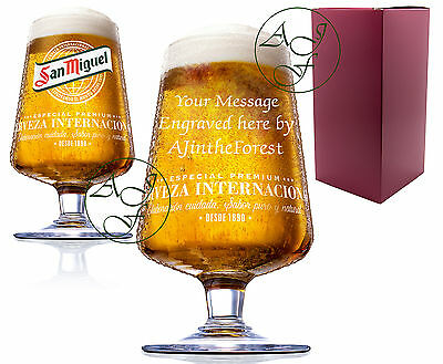 Personalised Engraved 1 Pint San Miguel Lager Chalice Glass Fathers Day Gift