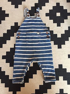 NEXT Baby Dungarees 6-9 Months Striped Ex Condition Nautical Boy Girl