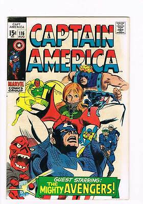 Captain America # 116  Avengers  Red Skull ! grade 7.0 scarce book !!
