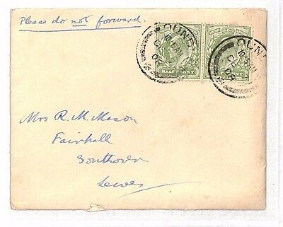 1908 GB Dundle Lewes Sussex Cover/Letter