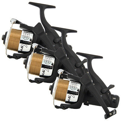 3 x CARP RUNNER FISHING REELS WITH 10LB LINE NGT FISHING TACKLE