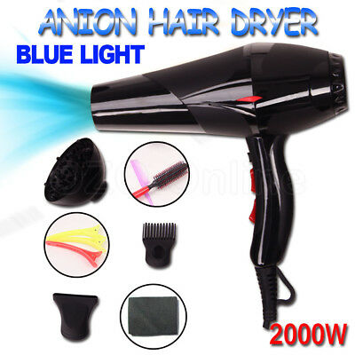 New 2000W Professional Salon Hair Dryer Blow Ionic Hairdryer Diffuser 2 Nozzles