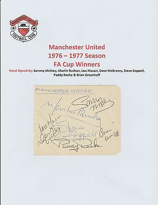Manchester United 1976-77 Fa Cup Orig Hand Signed Auto Book Page 7 X Signatures