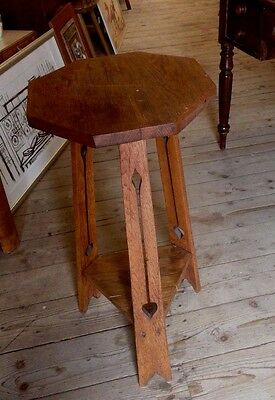 Antique Arts and Crafts Oak  Plant Stand/Table Liberty Style 27 inch C 1910