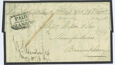 1825 GB SCOTLAND Soldiers Letter Cameron Highlanders Glasgow Barracks Tartan