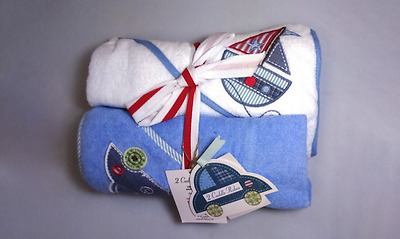 NEW 👶 Baby 2x Hooded Soft Cotton Bath Cuddle Robes Blue & White Towels 🛁