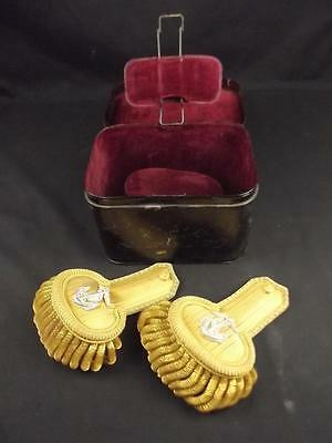 Late 19th To Early 20th Century Naval Epaulettes With Case