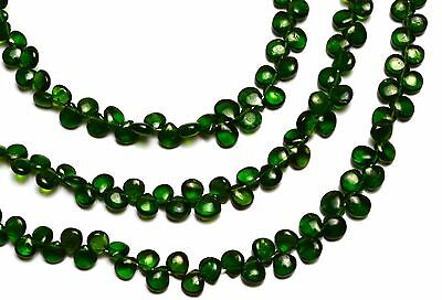 """SUPER TOP QUALITY CHROME DIOPSIDE SMOOTH 4 to 5MM HEART SHAPE BRIOLETTE BEADS 9"""""""