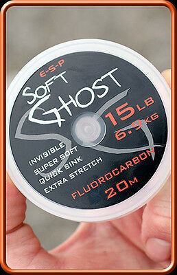 ESP NEW Carp Fishing Soft Ghost Fluorocarbon Hooklink 20m *All Breaking Strains*