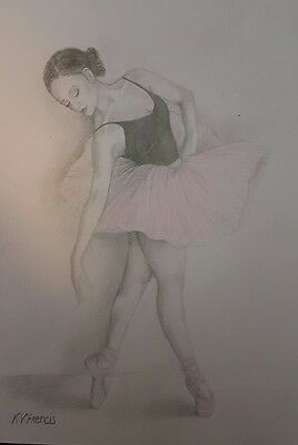 A4 Original Ballerina Pencil Drawing on 160 GSM - by Keziah