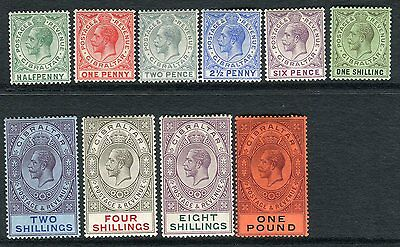 GIBRALTAR-1912-24  A lightly mounted mint set to £1 Sg 76-85