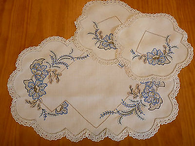 STRIKING BLUE POPPIES Vintage Hand Embroidered Duchess /Dressing Table Set 3pcs