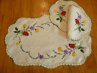 STUNNING ROSES VIOLETS Vintage Hand Embroidered Duchess /Dressing Table Set 3pcs